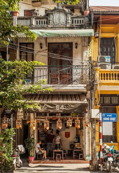 Building Photography, Street Photography, Japanese Architecture, Architecture Design, Hanoi Old Quarter, City Aesthetic, Scenery Wallpaper, Environment Design, Vietnam Travel