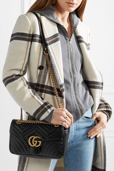 0d67eff98 GUCCI GG Marmont small quilted black leather elegant shoulder bag in ...