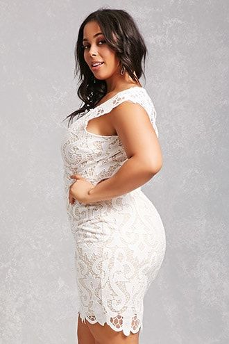 Details about Womens Plus Size Ivory Lace Overlay Cocktail Dress 1X Cold Shoulder Bodycon