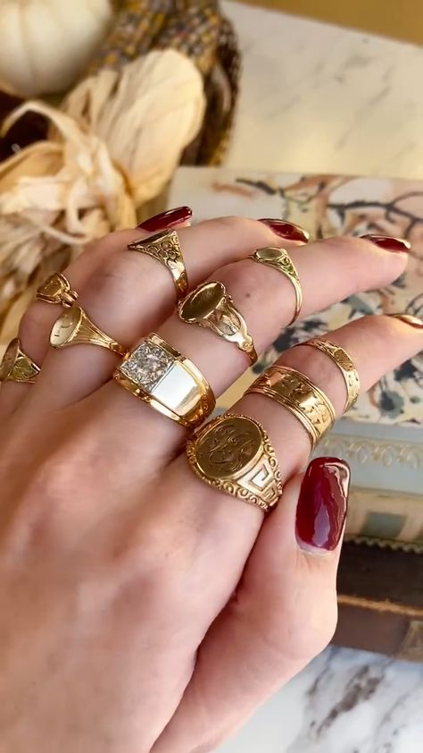 Stunning yellow gold signet rings from Maejean Vintage. Engraving available for blank rings. Click to shop! #MaejeanVintage #jewelry #etsy #antiques #VintageFashion #jewellery #VintageAesthetic #Gifts #SignetRing