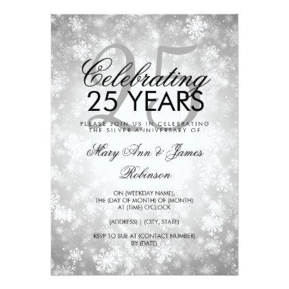 25th Wedding Anniversary Winter Wonderland Silver Card
