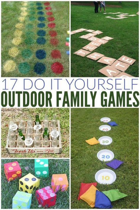 diy outdoor Fun summer outdoor game ideas that are perfect for a party, BBQ, family reunion, summer camp - any thing at all! All of these DIY outdoor games are easy to make at home - some with items you already have on hand! Backyard Party Games, Outdoor Party Games, Outdoor Games For Kids, Games For Teens, Lawn Games, Outdoor Play, Outdoor Toys, Picnic Games For Kids, Bbq Party Games
