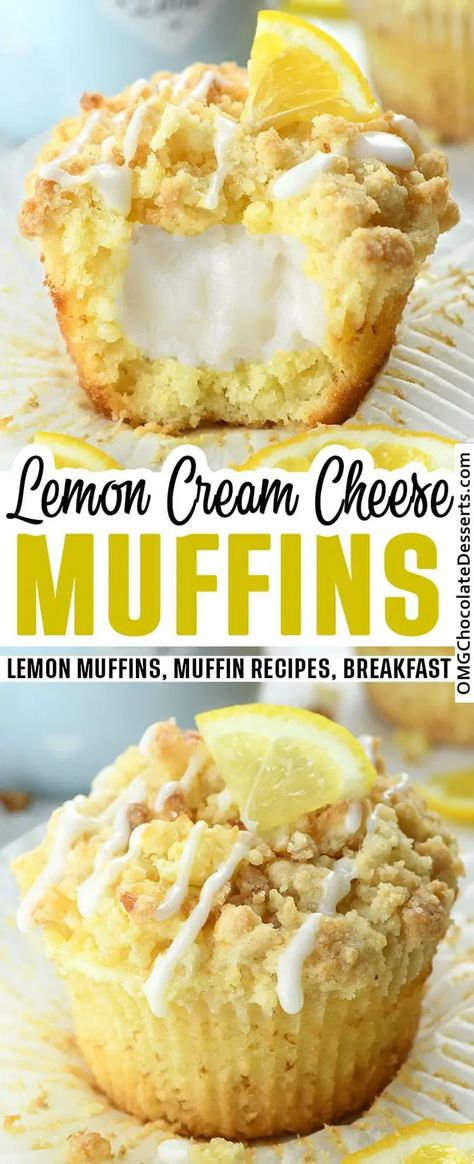 Lemon Cream Cheese Muffins are an easy recipe for moist lemon-infused muffins made with Greek yogurt and a crunchy streusel crumb topping, filled with cream cheese. #lemon #muffins #breakfast
