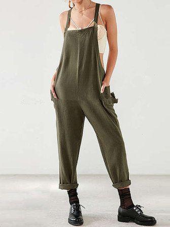Bib Pants Women Jumpsuit Cargo Pants Romper Plus Size Cotton/&Linen Brand New