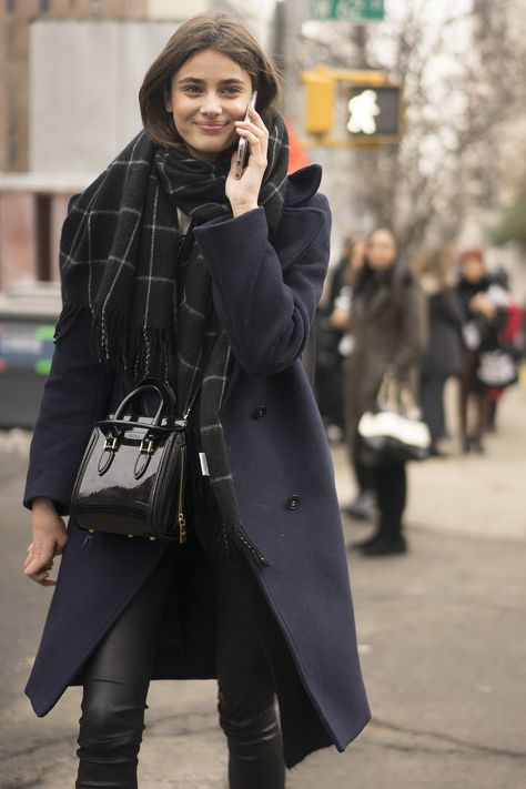 fashion beautiful gorgeous style street style Model outfit scarf off duty model off duty nyfw taylor marie hill leather pants taylor hill long coat fall 2015 nyfw 2015 nyfw fall 2015