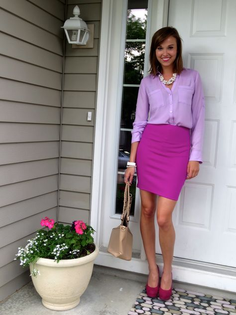 This Outfit Is Monochromatic Because The Purple On Shirt Light And Skirt Dark