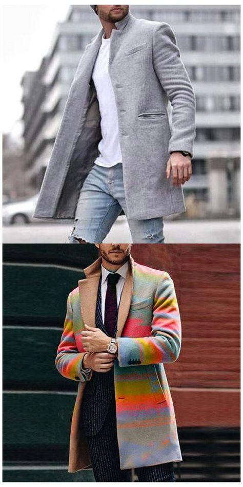 Autumn and winter fashion pure color long warm coat #jackets #men #fashion #classy #jacketsmenfashionclassy