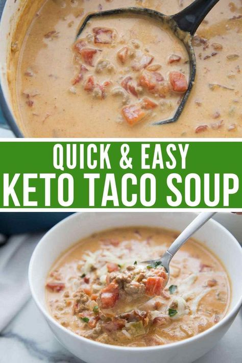 Queso Keto Taco Soup 1 lb ground beef 1 2 small onion chopped 6 oz cream cheese softened 2 cans of Rotel 1 2 cup heavy whipping cream 2 1 2 cups beef broth 1 tsp garlic powder 1 packet taco seasoning or my homemade taco seasoning salt and pepper to taste Low Carb Soup Recipes, Diet Recipes, Healthy Recipes, Low Carb Taco Soup, Taco Soup Recipes, Low Carb Soups, Queso Soup Recipe, Quick Recipes, Smoothie Recipes
