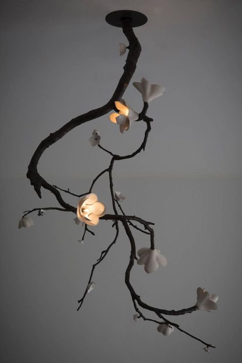 Unique Large Ceiling Mounted Branch Sculpture in Bronze by David Wiseman, 2014