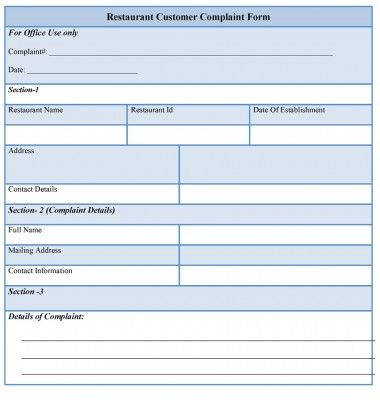 Restaurant Customer Complaint Form Sample Forms Customer Complaints Communication Plan Template Incentives For Employees