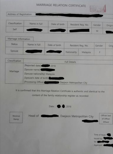 Marriage certificate korean south South Korea: