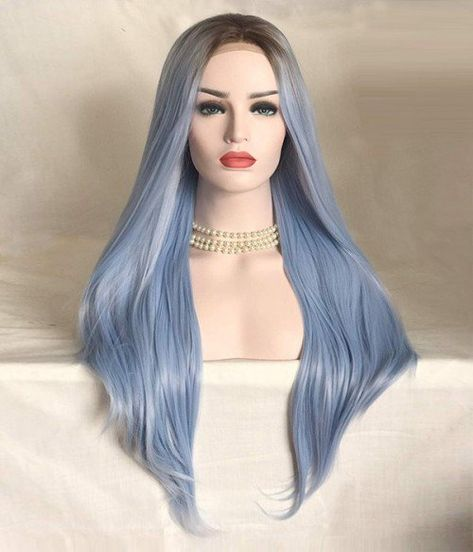 Macarons | Pastel Blue Long Layered Synthetic Lace Front