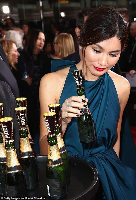 Golden Globes: Crazy Rich Asians star Gemma Chan stuns in a petrol blue Valentino Haute Couture gown | Daily Mail Online