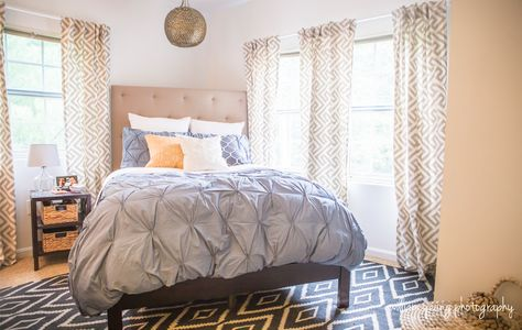 Queen Bed Against Corner Wall Ideas