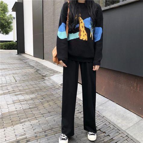 2 PIECE SET CARTOON SWEATER LONG FLARED PANTS SKIRT BLACK SUIT