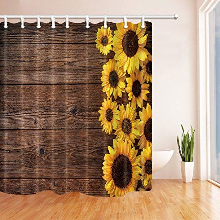Nymb Sunflowers On Wooden Board Polyester Fabric Waterproof