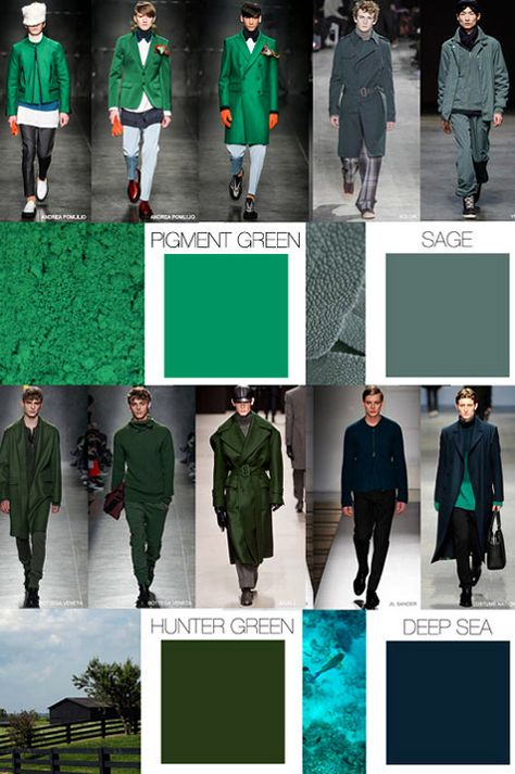 Fall-Winter 2015/2016 fashion trends: Menswear colors- using only the sage or deep blue together as prop colors.