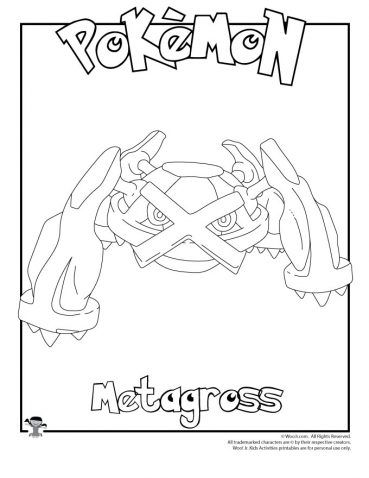 Metagross Coloring Page Coloring Pages Pokemon Coloring Pages
