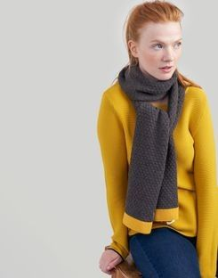 Joules Womens Emberly Popcorn Knitted Scarf in CHARCOAL in One Size