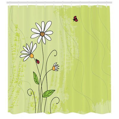 East Urban Home Ambesonne Daisy Shower Curtain Hand Drawn Style Chamomile Flowers On Green Backdrop With Ladybugs And Grunge Look Cloth Fabric Bathr Products In 2019 Bathroom Decor Sets Shower