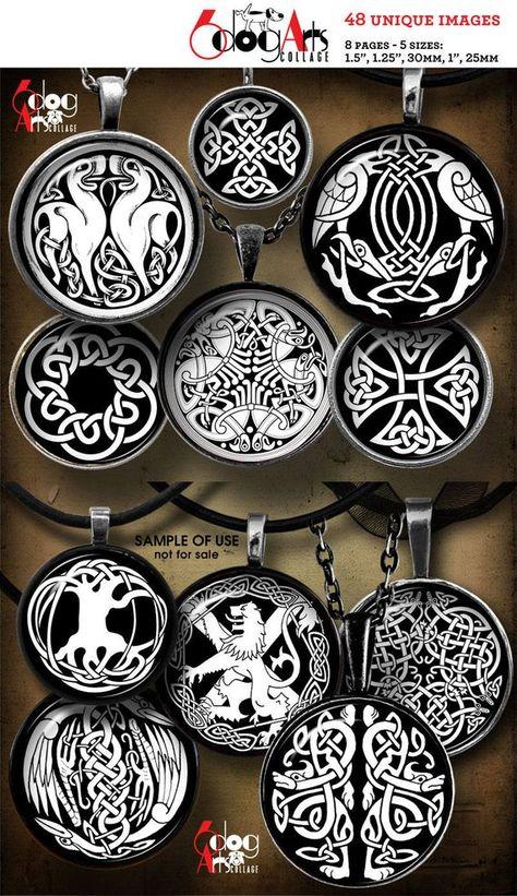 Celtic Designs Digital Collage Sheets Printable Download for Bottle Caps Pendants Paper Crafts 1.5,