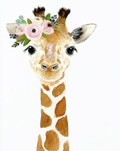 Watercolor giraffe, Woodland nursery, Animal Paintings, Fox, Bear, Deer, fawn, watercolor animal, giraffe, kids posters, nursery flag - #animal #giraffe #nursery #paintings #watercolor #woodland - #DecorationDrawing