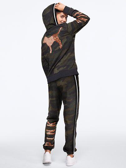 PINK VICTORIA/'S SECRET BLACK MINT RHINESTONE BLING SKINNY JOGGER FLEECE SWEAT VS