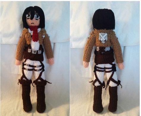 MIKASA ACKERMAN Attack on Titan Before the Fall Edition Amigurumi Doll  Keychain