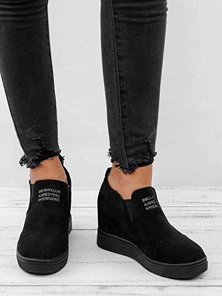 c2bb8550504ba Amazon.com | Athlefit Women's Hidden Wedge Sneakers High Heel Slip ...