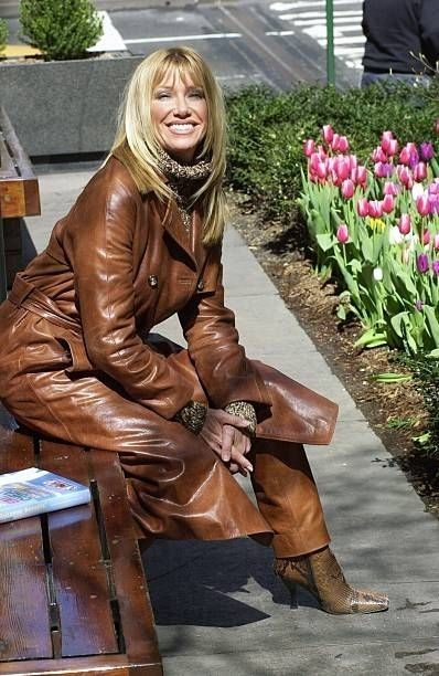Suzanne Somers In Brown Leather Trench Coat Leather Trench Coat