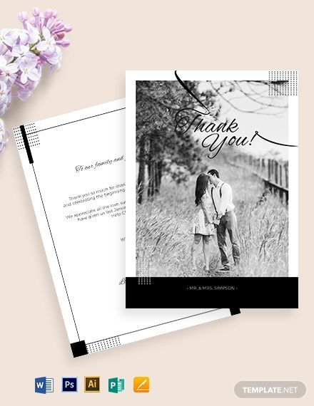 Simple Wedding Thank You Card Template Word Doc Psd Apple Mac Pages Illustrator Publisher Wedding Thank You Cards Thank You Card Template Simple Wedding Cards