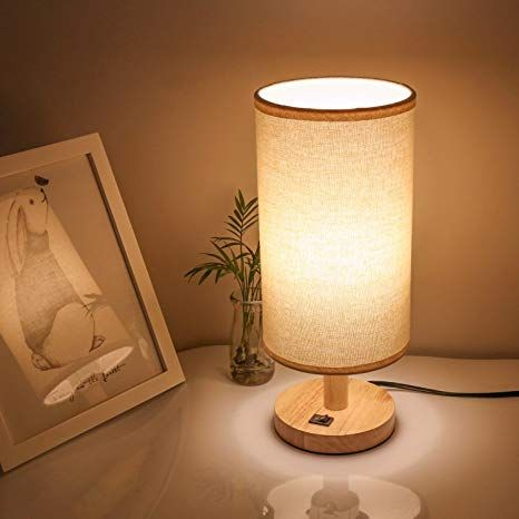 Wood Bedside Lamp Small Nightstand Lamp End Table Lamp For Kids
