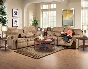 The Mink Sectional Sofa Group By Woodhaven Features A Three Piece Sectional  Group, Double Reclining Console Loveseat, Two Cupholders And An Armrestu2026