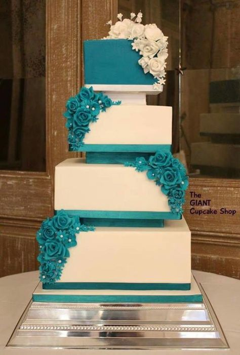 Teal Wedding cake  ~ All sugar roses and entirely edible