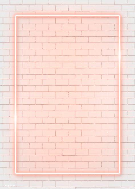 Rectangle orange neon frame on an orange brick wall vector | premium image by rawpixel.com / manotang