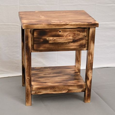 Best Torched Farmhouse Nightstand Wood Reclaimed Nightstand 640 x 480