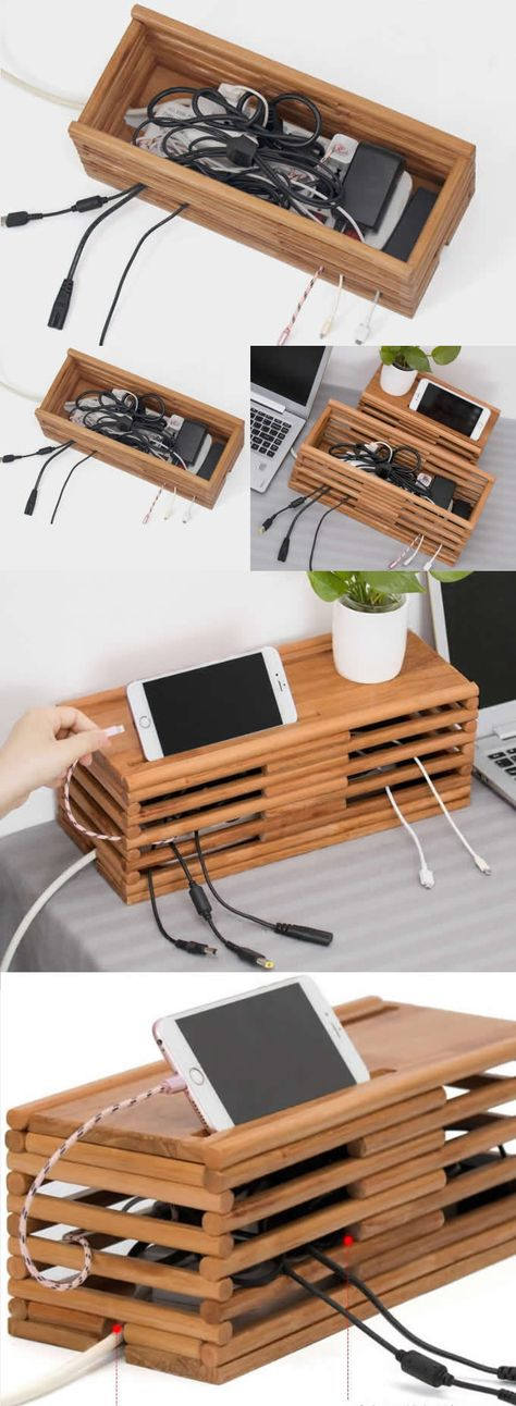 Bamboo Wooden Charge Cable Organizer iPad Cell Phone Charging Station Dock Holder Cable Cord Organizer CableBox Wire Storage Cable Management System Case