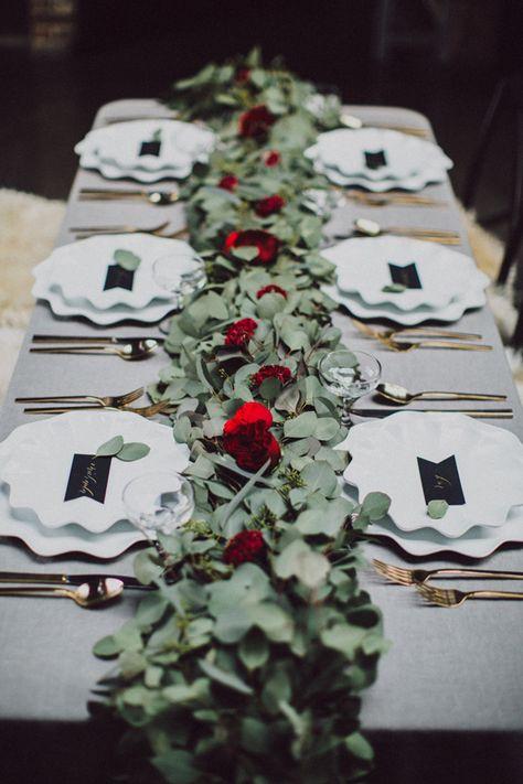 eucalyptus table runner - photo by Amber Gress http://ruffledblog.com/wedding-inspiration-shoot-with-drama-and-romance