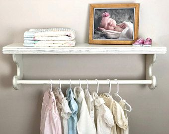 White Wall Shelves Nursery Shelf With Rod Shelf With Hanging Rod Display Quilt Shelf Distressed White She Hanging Clothes Racks Nursery Shelves Clothes Shelves