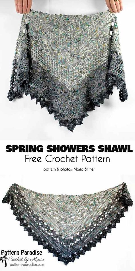 Crochet shawl 345862446385468891 - Spring Shower Shawl Free Crochet Pattern Source by LauraLeCaillou Pull Crochet, Crochet Shawl Free, Crochet Shawls And Wraps, Crochet Motifs, Crochet Scarves, Crochet Clothes, Crochet Lace, Crochet Stitches, Knit Shawls