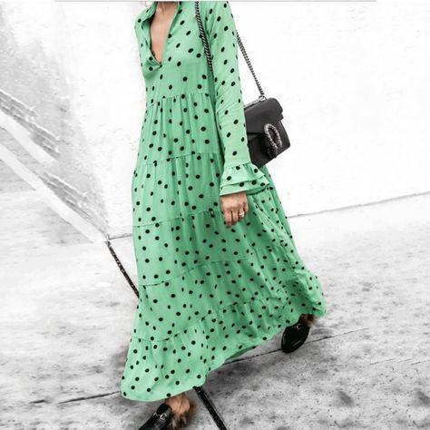 Fashion V Collar Dot Flouncing Green Maxi Dress – ebuychic