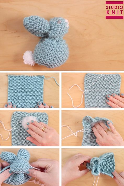 From just a knitted square you will be able to create the stuffed softie animal shape of a Bunny. #StudioKnit #knittingvideo #bunnyfromasquare #bunnyknit #bunnysquare #softies