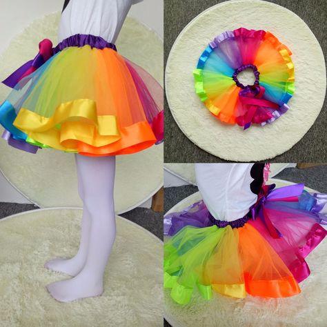 Kids Lovely Handmade Colorful Tutu Jupe Filles Arc-en-Tulle Tutu Mini robe