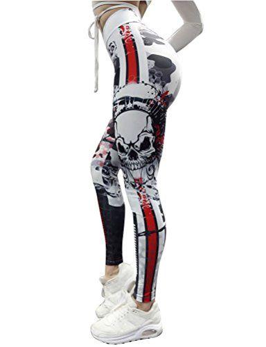 ouxiuli Womens Fashion 3D Floral Printed High Waist Yoga Pants Workout Fitness Leggings