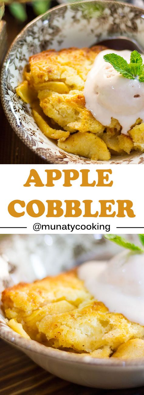 Freshly made delicious apple cobbler. homemade cobbler is far much better than the store bought. Make this amazing southern dessert in few minutes. #applecobbler #cobblerrecipe #cobbler #southernfood