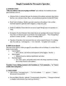 Persuasive Speech Outline Speech Outline Speech Persuasion