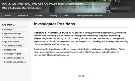 Public Defender Investigator job duties http\/\/pdweb - public defender resume