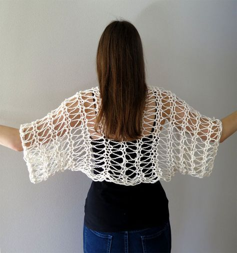 MADE TO ORDER Off White Color Lacy Shoulder by KnitsomeStudio