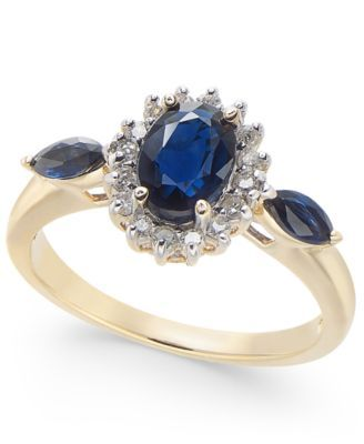 Macy S Sapphire 1 1 2 Ct T W Diamond 1 6 Ct T W Ring In 14k Gold Reviews Rings Jewelry Watches Macy S Sapphire Jewelry Rings