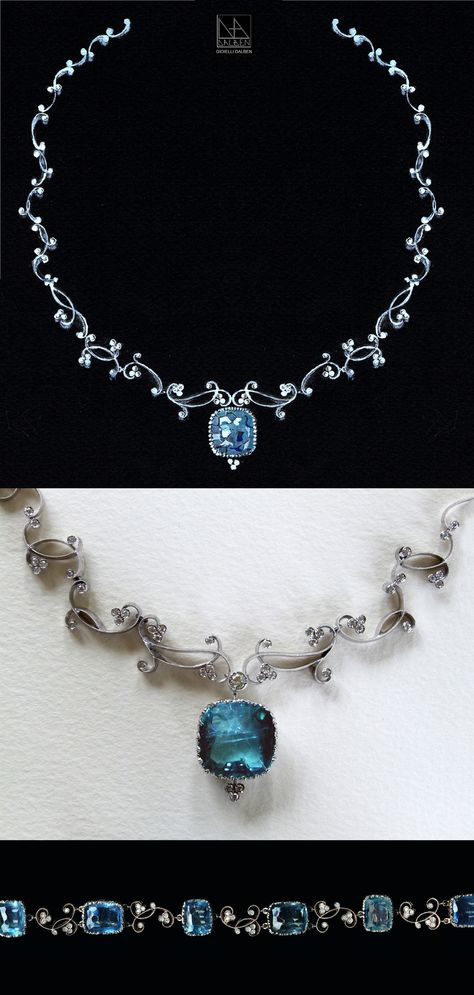 drawing for necklace and bracelet : diamonds aquamarine white gold - GIOIELLI DALBEN -italian fine jewelry